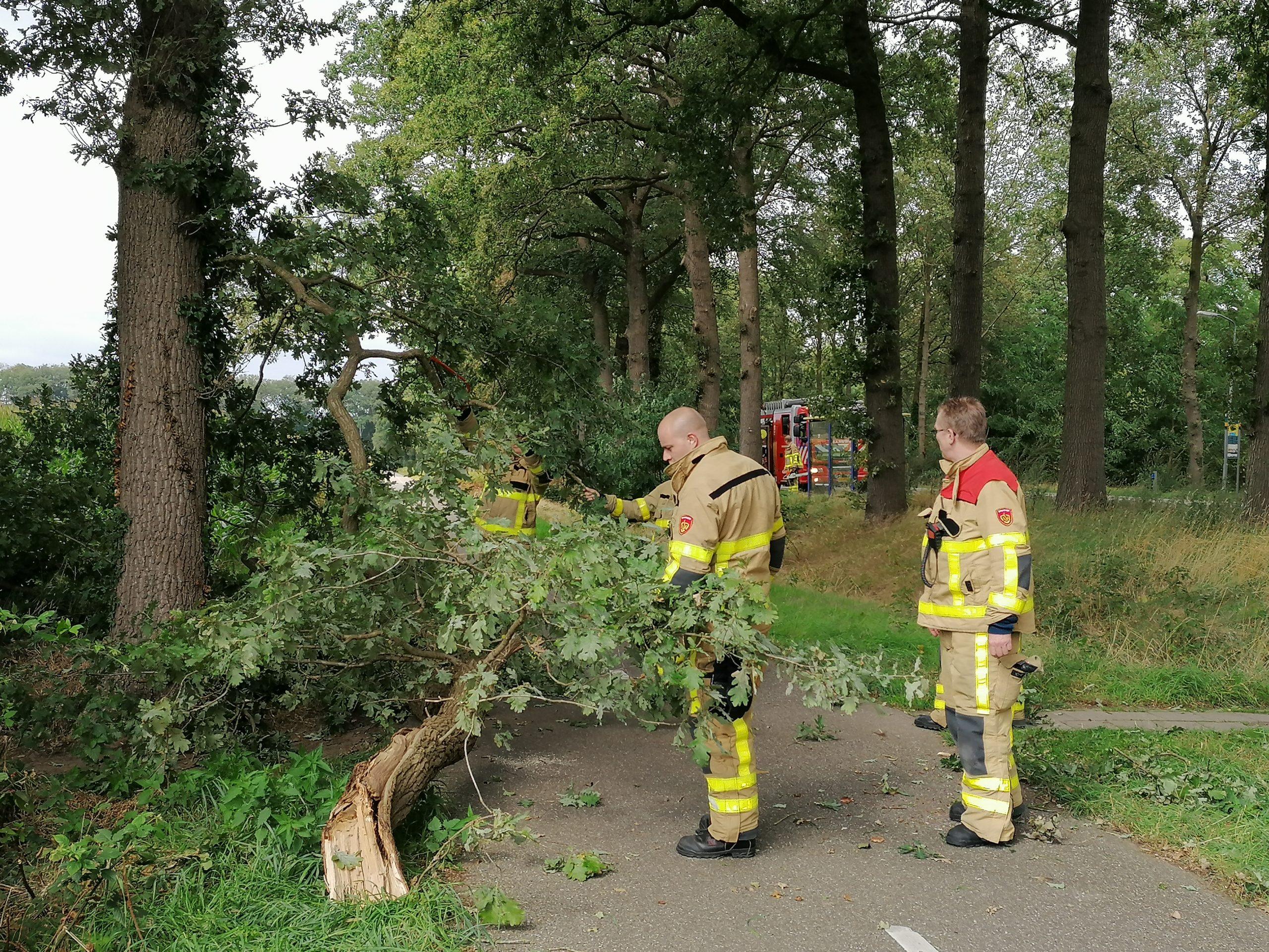 Flinke tak breekt van boom en blokkeert deels het fietspad en deels een wandelpad