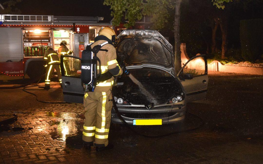 Buurtbewoners proberen brand in motor van auto te blussen met poederblussers
