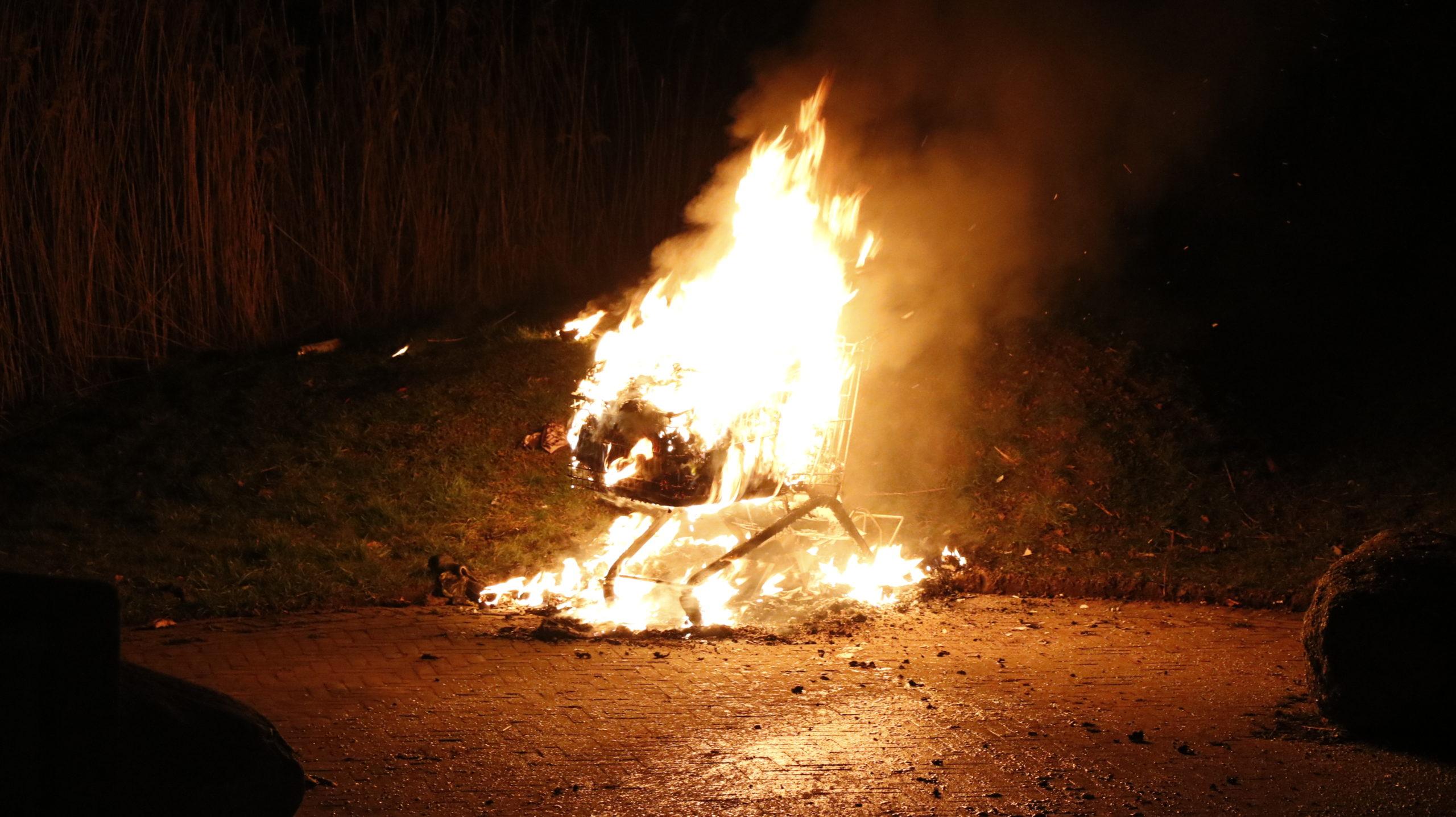 Buitenbrand op hangplek in Duiven.